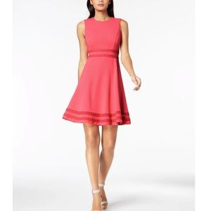 Calvin Klein Hot Pink Fit and Flare Dress SZ 8 EUC